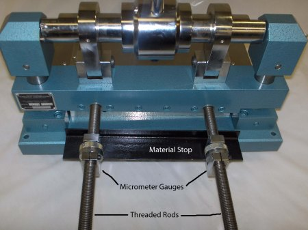 The reverse of the Tensilshear, showing the micrometer adjustments for setting strip width